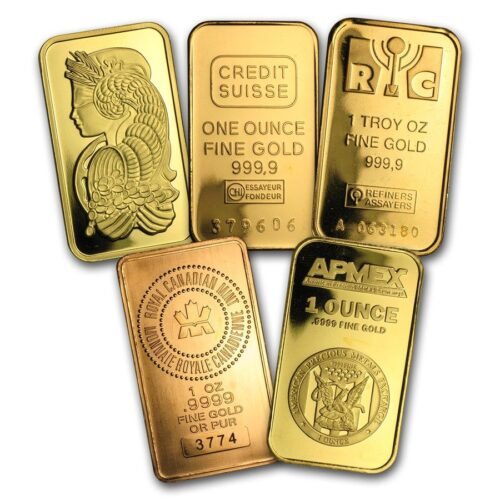 A variety of gold bars representing the ability to diversify your gold into a retirement portfolio.