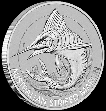 Platinum Australian Striped Marlin one-third troy ounce coin reverse side